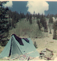 Image of my tent set up near the beaver pond