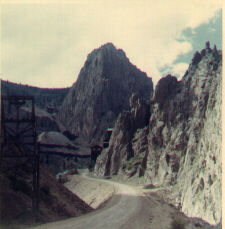 Image of the road above Creede, with abandoned mine buildings