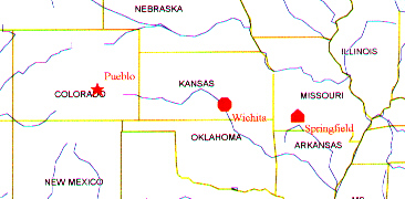 Image of map of Colorado, Kansas, Missouri area, showing departure (Springfield), pause (Wichita), and arrival (Pueblo) points