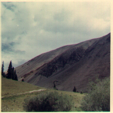 Image of the rocky,barren mountaintop by our camp above Creede